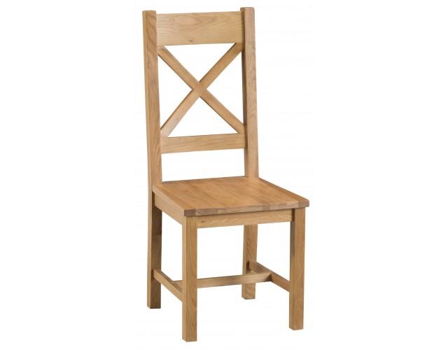 Country Oak Cross Back Chair Wooden Seat