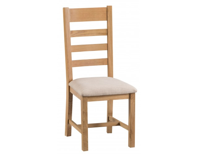 Country Oak Ladder Back Chair Fabric Seat