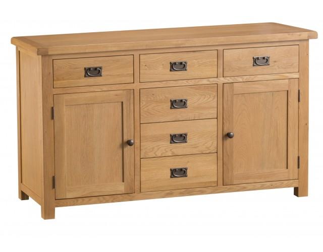Country Oak 2 Door 6 Drawer Sideboard