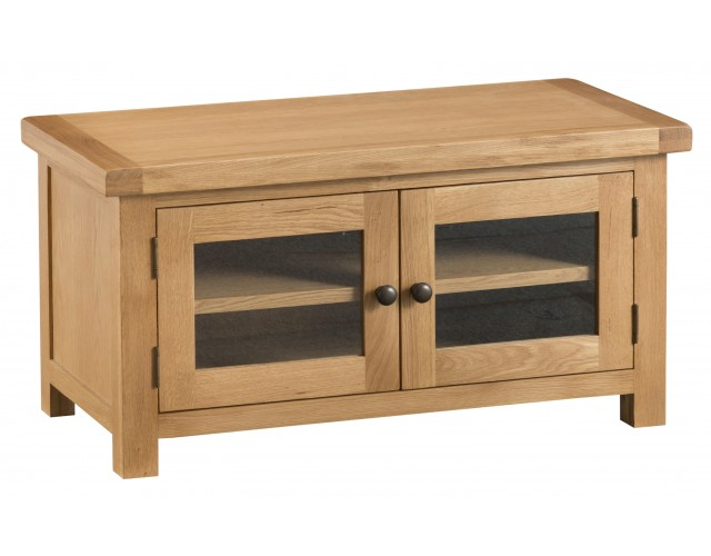 Country Oak Standard TV Unit with Glass Doors