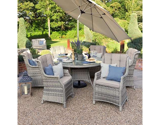 Oyster 6 Seat Rattan 1.4m Round Dining Set